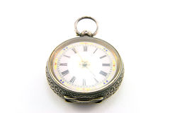 Antique Watch. Ornate silver antique watch on a white background Stock Photography