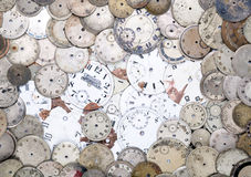 Antique watch faces. Collection of old scratched watch faces Stock Photo