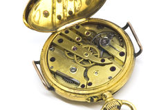 Antique Watch Mechanism. This antique watch mechanism was produced in France in the 1900's. The watch mechanism were made of brass geniune rubies jewels were use Royalty Free Stock Photography