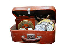 Antique watches in the old suitcase Stock Image