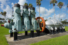 Antique water management machinery on display in florida. The original pumping equipment used for controlling water levels at lake okeechobee Royalty Free Stock Photography