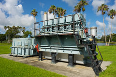 Antique water management machinery on display in florida. The original pumping equipment used for controlling water levels at lake okeechobee Stock Images