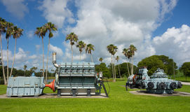 Antique water management machinery on display in florida. The original pumping equipment used for controlling water levels at lake okeechobee Royalty Free Stock Photo