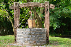 Water Well. With Pulley and Bucket stock images