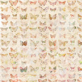 Antique watercolor butterflies illustrated patterned background vector illustration