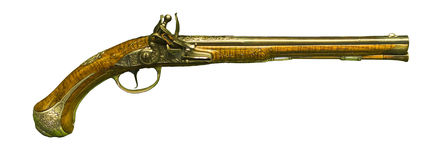 Antique weapon. Flintlock Pistol. Royalty Free Stock Photography