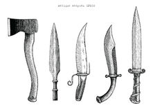 Antique weapons hand drawing engraving illustration. Clip art isolated on white background Royalty Free Stock Photo