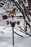 Antique Weathervane in the Snow Royalty Free Stock Photography