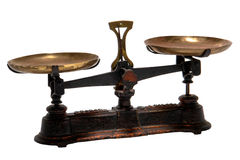 Antique Weigh and Old Measure Brass Scale Isolated Stock Images