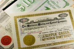 Antique Western Mining Stock Certificates Royalty Free Stock Photography