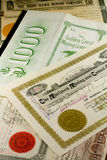 Antique Western Mining Stock Certificates Royalty Free Stock Photo