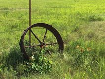 Antique Wheel. Antique tractor laid to rest in the beautiful Flinthills Stock Photos