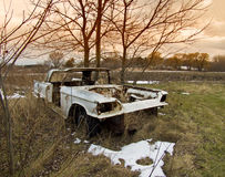 Antique White Abadoned Car Royalty Free Stock Photos