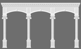 Antique white arcade. With Ionic columns. Three arched entrance or niche. Vector graphics royalty free illustration