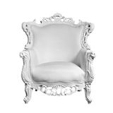 Antique white leather chair. Isolated on white royalty free stock photos