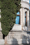 Antique white marble building and cypress. In high quality Stock Images