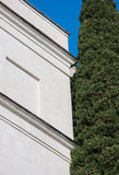 Antique white marble building and cypress. In high quality Royalty Free Stock Image