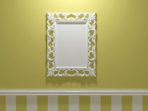 Antique white ornamented picture frame Royalty Free Stock Photos