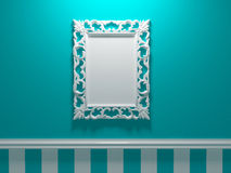 Antique White Ornamented Picture Frame Stock Photography