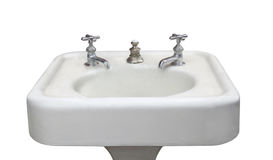 Antique white sink isolated. Royalty Free Stock Image