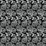 Antique White Vintage Roses on black background Royalty Free Stock Photo
