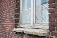 Antique white wooden window frames, lace curtains and a stone windowsill on a dark red brick house Royalty Free Stock Images