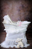 Antique Wicker Baby Bassinet #1. Antique Wicker Bassinet Photography Digital Prop royalty free stock image