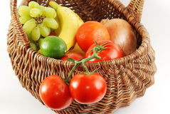 Antique Wicker Basket of Fresh Produce Royalty Free Stock Images