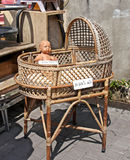 Antique wicker cradle for baby Stock Photography