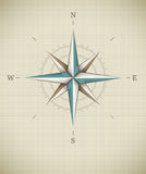 Antique wind rose symbol for navigation. Vector illustration EPS10. Transparent objects used for shadows and lights drawing Royalty Free Stock Photo
