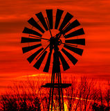 Antique Windmill Silhouette Stock Photo
