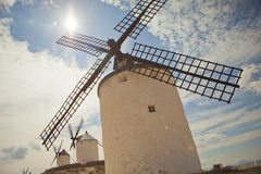 Antique windmills in La Mancha Stock Image