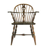 Antique windsor type chair. Beautiful antique windsor type chair on a white background royalty free stock photography