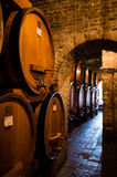 Antique wine cellar with row of big barrels Royalty Free Stock Image