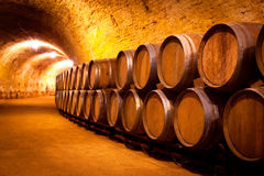 Antique Wine Cellar With Wooden Barrels Stock Photos