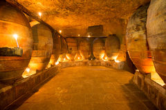 Antique winery in Spain with clay amphora pots Stock Images