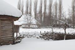Antique Winter Village Stock Image
