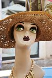 Antique woman mannequin. Head with fashion hat. The photo was taken in Valeggio sul mincio, Verona, Italy royalty free stock photos