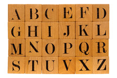 Antique Wood Block Alphabet Letters Isolated Stock Photo