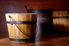 Antique Wood Bucket and Old Containers  Royalty Free Stock Photos