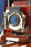 Antique wood camera Stock Photos