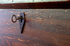 Antique Wood Chest Skeleton Key Lock Stock Photos