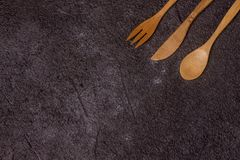 Antique wood cutlery Royalty Free Stock Images