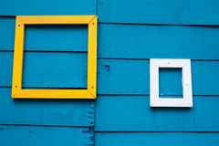 Antique wood frame on blue wood wall Stock Images