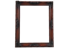 Antique wood frameon white Royalty Free Stock Photography