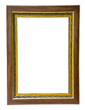 Antique wood and gold frame isolated on white background Royalty Free Stock Photos