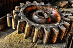 Antique Wood Machinery Wheel On Old Wooden Bench Royalty Free Stock Photo