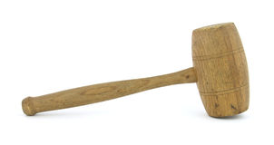 Antique wood mallet. A vintage hardwood mallet against a white background Stock Images