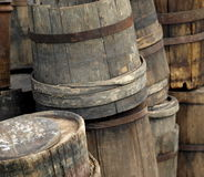 Antique wood stave barrels Stock Images