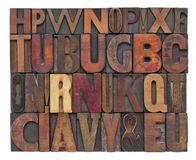 Antique wood type letters. Random alphabet letters - vintage letterpress wood type, different size and style of fonts Royalty Free Stock Photo